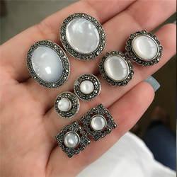 Modyle 4 пар/уп. серебро Винтажные серьги-гвоздики серьги для Для женщин букле D'oreille Jewelry Богемия опал серьги набор Brincos