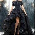 Свадебное платье короткий передний долго назад без бретелек линии длина пола черное кружево свадебное платье