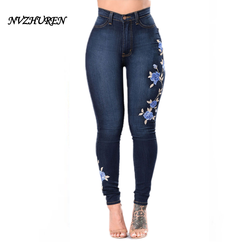 NVZHUREN Embroidery Jeans High Waist Woman Jeans Skinny Plus Size 3XL Winter Denim Women Jeans Slim Mom Push Up Jeans Female plus size skinny high waist jeans
