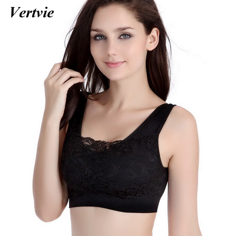 Vertvie Women Fitness Yoga Bra Sportswear Padded Sports Bra Jogging Gym Shirts Sports Vest Push Up Bra Sexy Lace Crop Top Yoga