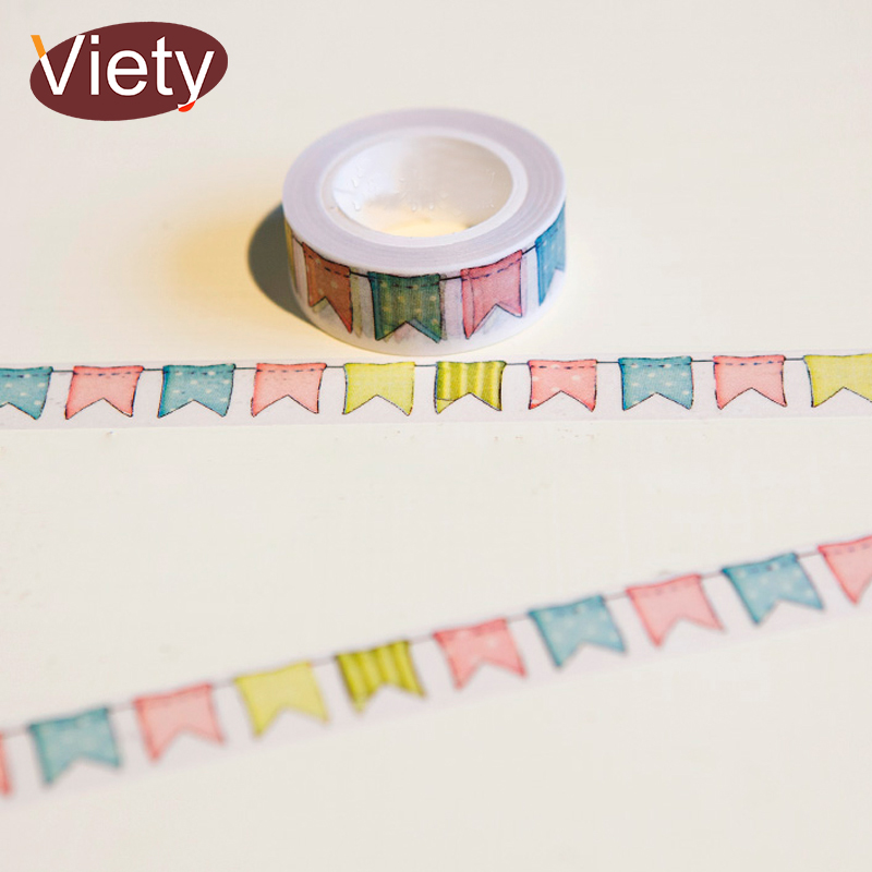 1.5cm*10m Colour Flag washi tape DIY decoration scrapbooking planner masking tape adhesive tape kawaii stationery