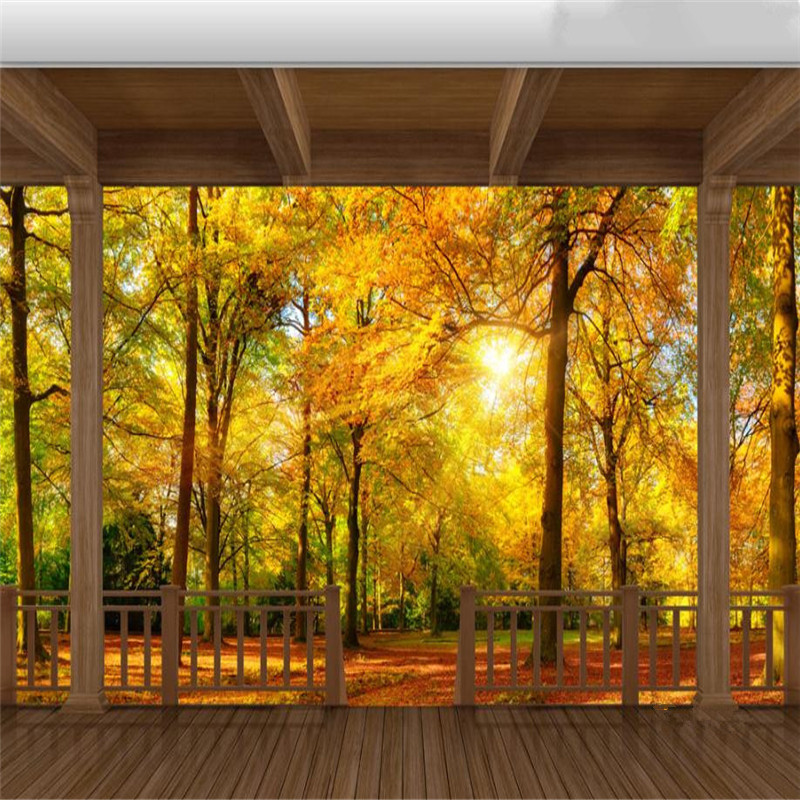 3D Country Style Wallpaper Forest Cabin Balcony Wall Murals Autumn