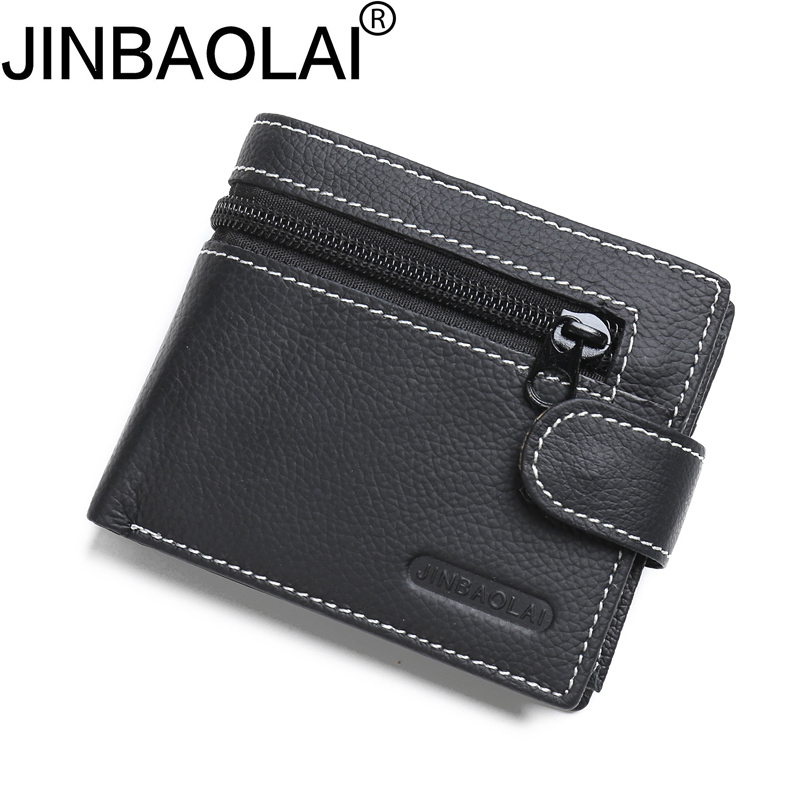 Zipper Coin Genuine Leather Men Wallet Purse Male