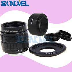 50mm F1.4 CCTV TV Movie lens+C Mount+Macro ring+hood for Sony E Mount Nex-5T Nex-3N Nex-6 Nex-7 Nex-5R A6300 A6100 A6000 A6500