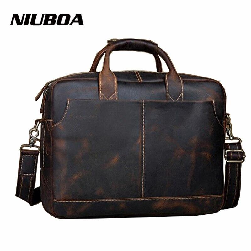 NIUBOA Luxury Genuine Leather Men Bag 16