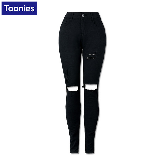 Black High Waist Jeans Women Strench Pencil Skinny Ripped Trousers Hole Fashion Pants Denim Female Plus Size S-2XL Spring Fall