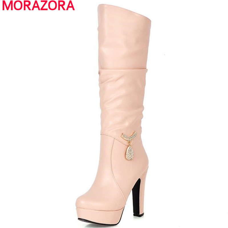 MORAZORA Plus size 34 43 lady sexy thin high heels knee high boots rhinestone fashion simple round toe solid women boots