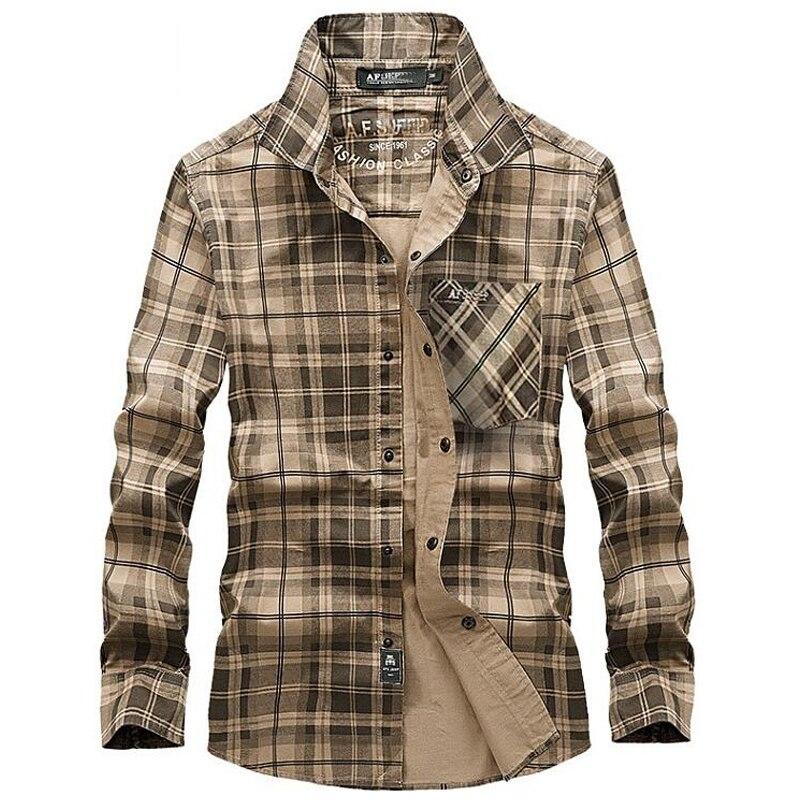 100% Baumwolle Plaid Shirt Männer Casual Langarm-shirt Frühling Herbst Kleidung Männer Drehen-unten Kragen Marke Shirts Camisa Masculina SorgfäLtige Berechnung Und Strikte Budgetierung