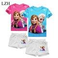 LZH 2017 Nuevas Muchachas Del Verano Arropa los Sistemas t-shirt + Pants Ropa Para Niños Niñas Establece Anna & Elsa Vestuario Traje Traje de Ropa de Los Niños