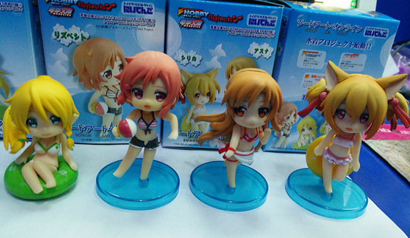4pcs/lot Sexy Figure Anime Sword Art Online Asuna Sexy Swim Suit Q Version PVC Action Toy Figure New