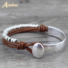 Anslow Genuine Leather Wrap Vintage Retro Unisex Beads Bracelet Bangle For Women Lady Female Free Shipping LOW0472LB