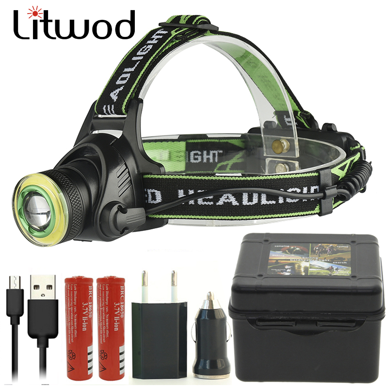 Litwod Z207403 XM-L2 U2 Led Headlamp Headlight COB Micro USB Rechargeable Head Flashlight Torch Lamp Portable Light For Camping