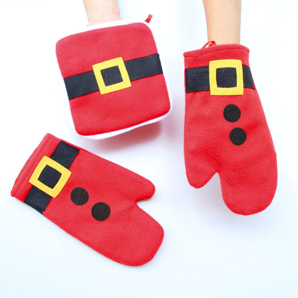 3//set Christmas Red Microwave Oven Gloves /& Insulating Mat Xmas Home Decor