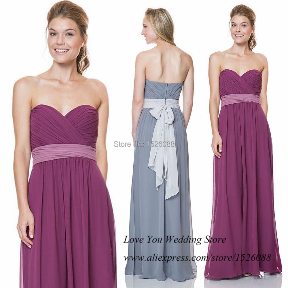 Bridesmaid grey dresses 2015 promotion shop for promotional robe demoiselle dhonneur cheap grey purple bridesmaid dresses for weddings 2015 pleat sash long party dress ombrellifo Gallery