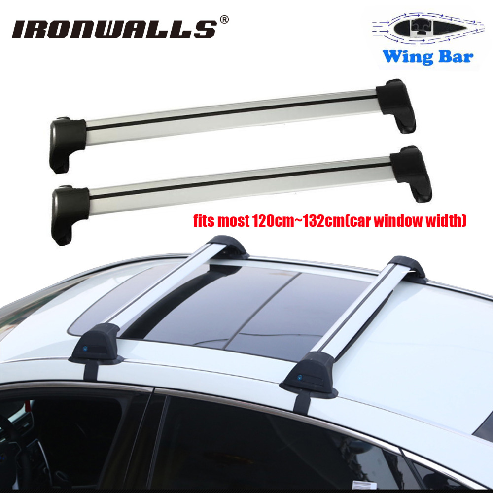 Ironwalls 2x Car Roof Rail Racks Cross Bar 120~132cm Top Luggage Cargo  Carrier W