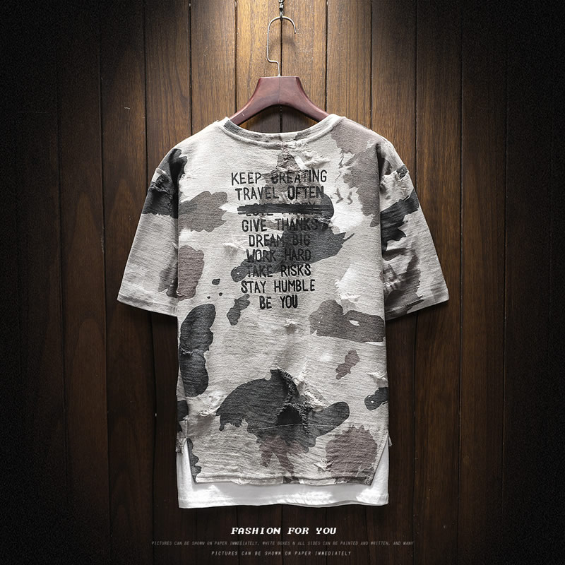 New arrival 2018 summer fashion letter print camouflage short sleeve t shirt for men men's military streetwear t-shirt DTX2 26