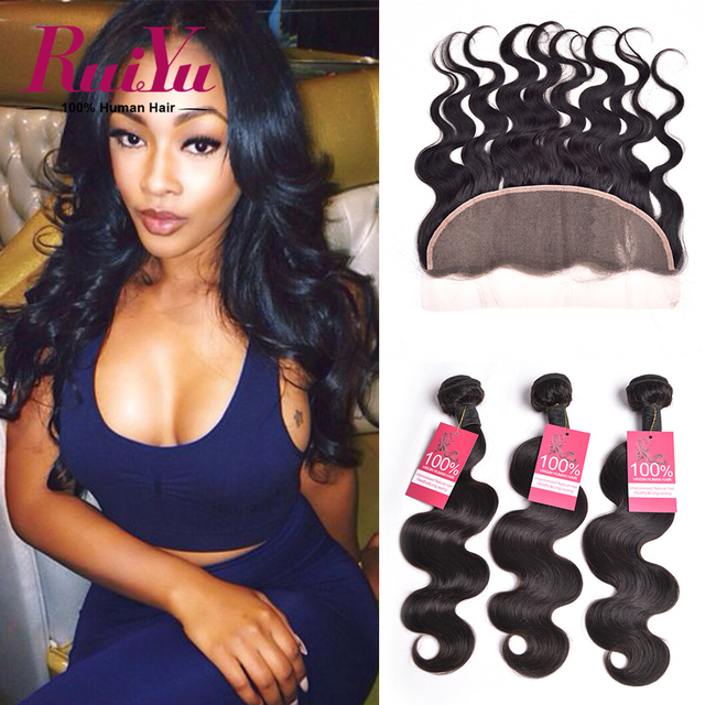 Brazilian Virgin Hair Lace Frontal Closure With Bundles 3 Pcs Brazilian Virgin Hair Body Wave Lace Frontal Closure With Bundles
