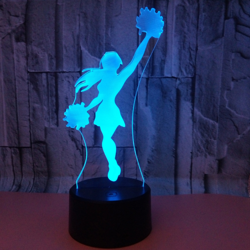 Cheerleader 3D Night Light Touch Switch LED 3D Lamp 7 Colors USB Illusion Desk Lamp Home Decor As Kids Toy Birthday GiftCheerleader 3D Night Light Touch Switch LED 3D Lamp 7 Colors USB Illusion Desk Lamp Home Decor As Kids Toy Birthday Gift