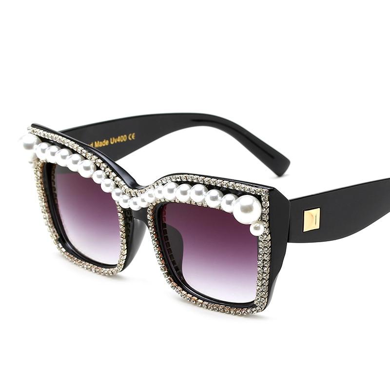 Women's Glasses Discreet New Fashion Brand Designer Luxury Pearl Leg Sunglasses Women Men Oversized Sun Glasses For Female Male Clear Lens Goggle Uv400