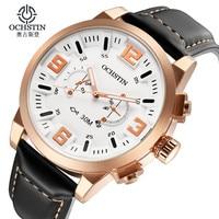 Mens Watches Top Brand Luxury OCHSTIN Men Military Wristwatch Leather Date Quartz Watch Business Luxury Gift