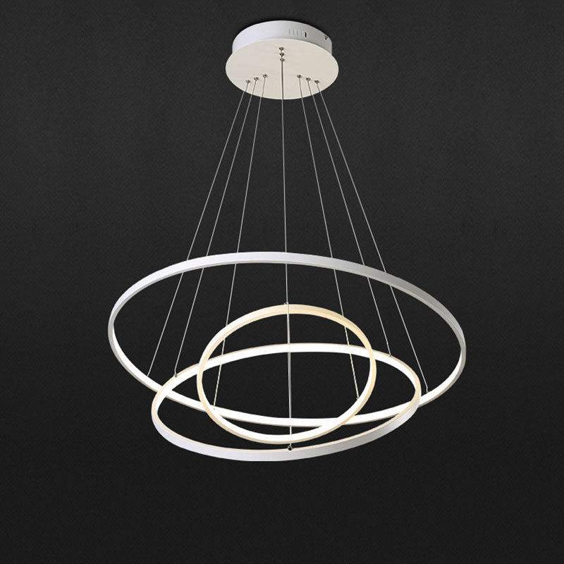 Simple Circle Modern LED Pendant Lamp Acrylic Round Ring Light Hanging Ceiling Fixtures For Living Dining Room Home Decor