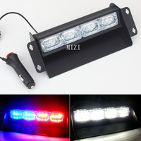 Super Bright 4 3LED Car Flash Strobe Signal Emergency Fireman Police Beacon Warning Light Front Windshield