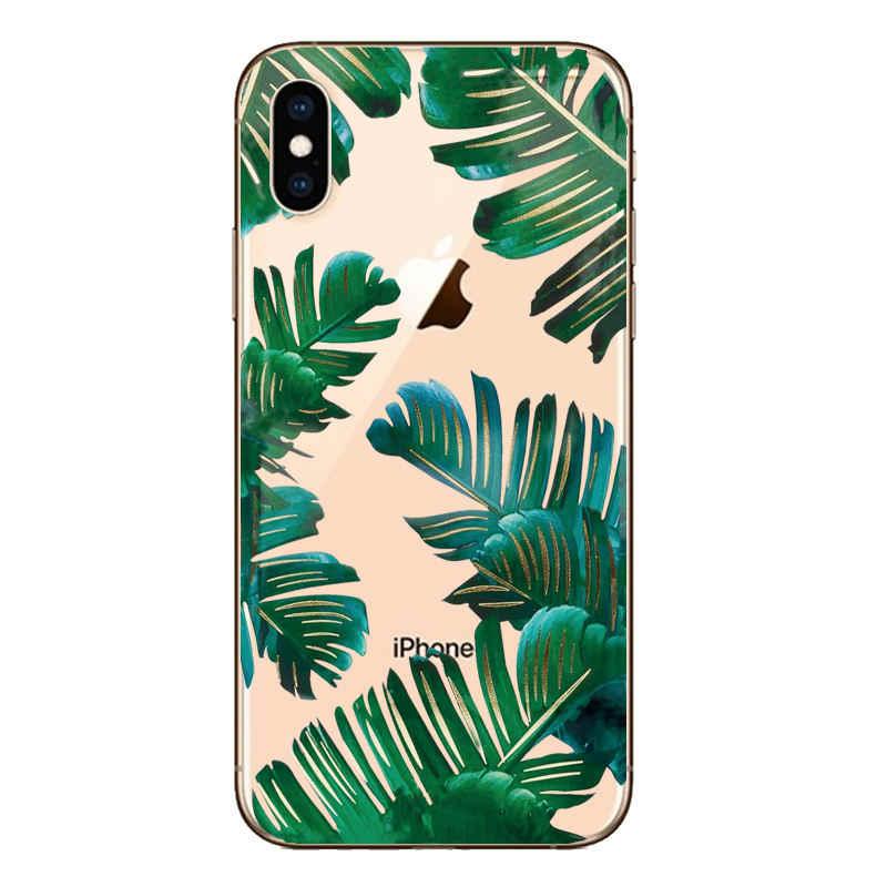 С принтом листьев чехол для iPhone X 6 6s 7 8 плюс XS 5 5S SE кактусов Модный мягкий резиновый, силиконовый, из термопластичного полиуретана чехол Capa