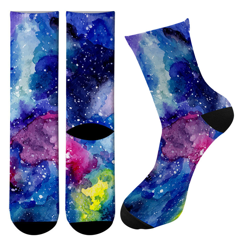 New 3d Printed Starry Space Men Comfortable Funny Long Knee High Eiffel Tower Crew Socks Iceberg Kawaii Soccer Cycling Socks