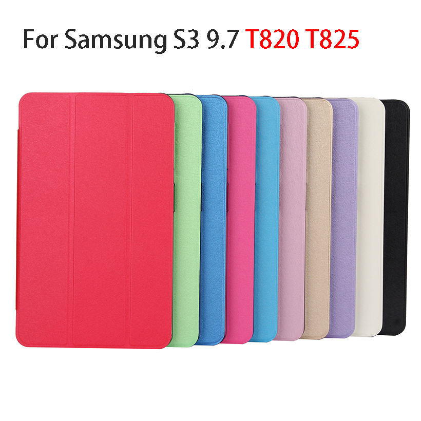 Transparent Trifold Stand Case For Samsung Galaxy Tab S3 9.7 T820 T825 Back Cover Case Funda Tablet Flip PU Leather Skin Shell flip left and right stand pu leather case cover for blu vivo air
