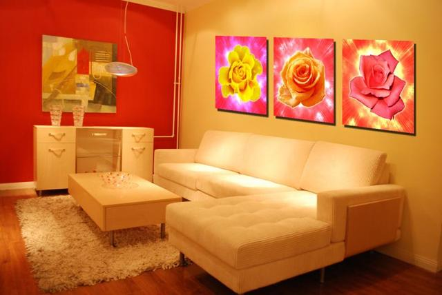 3 Pcs (No Frame) yellow and red rose Flowers Wall Art Picture Modern ...