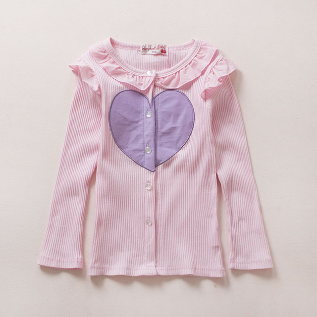 3-sete anos Bebê Meninas Roupas Bonito Cardigan Menina Meninas Longas Da Luva Camisas de Algodão Meninas Cardigan Crianças Encabeça