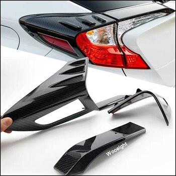 Wooeight 4 pièces pour Toyota C-HR CHR 2017 2018 style de voiture ABS en Fiber de carbone arrière lampe couverture garniture queue lampe cadre autocollants
