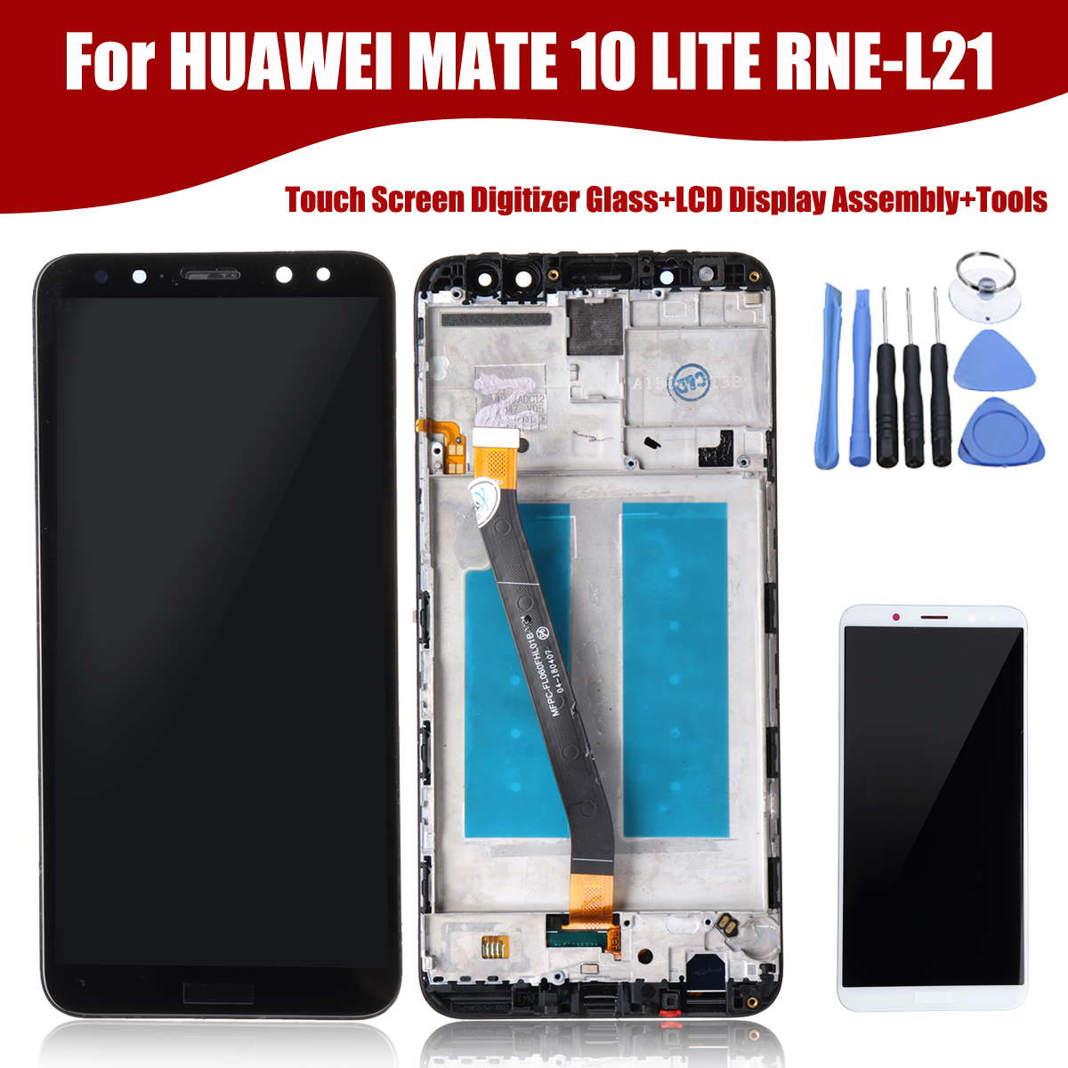LEORY Portable Touche Écran Digitizer Verre + Écran LCD + Outils Pour HUAWEI COMPAGNON 10 LITE RNE-L21