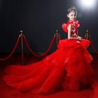 Роскошные Платья принцессы для девочек 2018 новый длинный задний Emboridery бальное платья День рождения подиум платье для сцены JF487