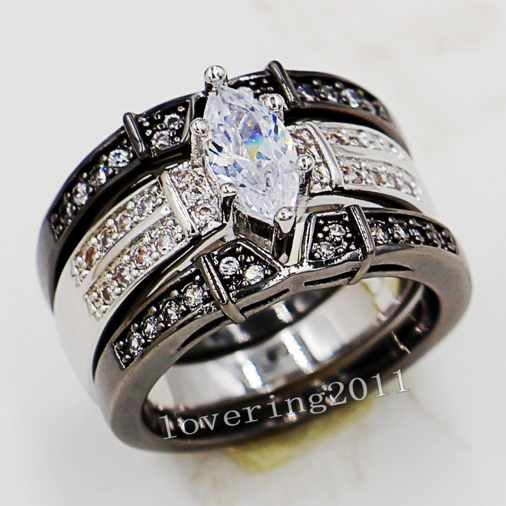 fashion jewelry engagement marquise cut aaa cz simulated stones 14kt white gold filled wedding band ring