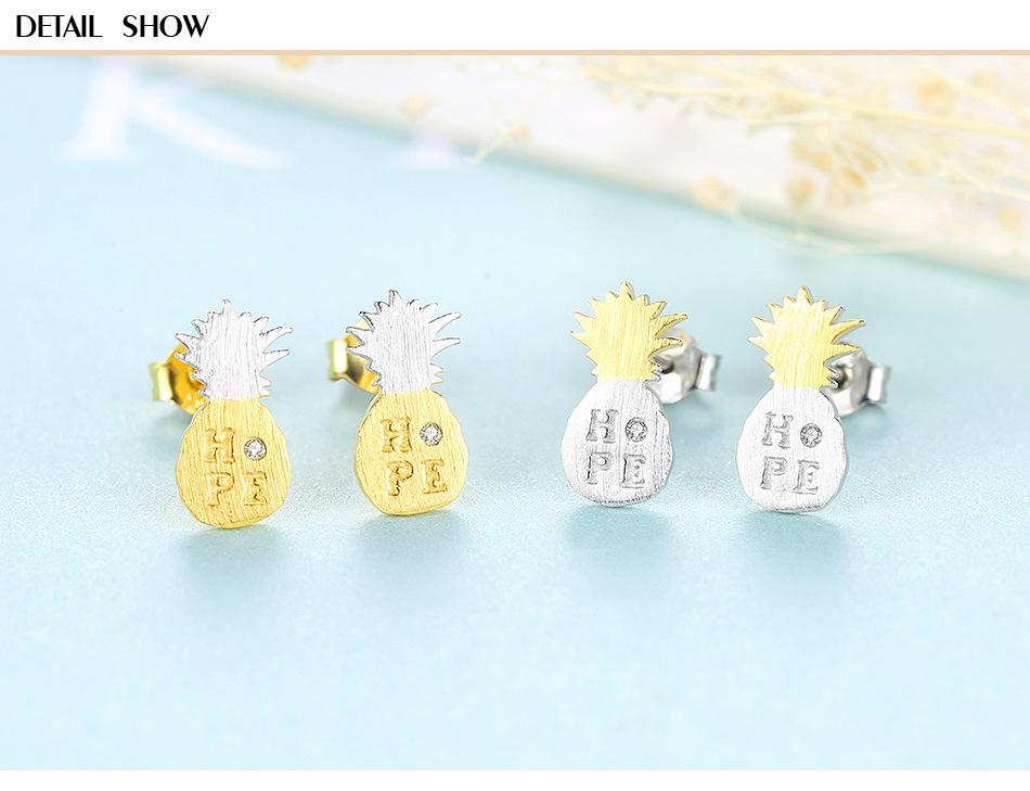 Silver Earrings Simple S925 Sterling Silver Creative Personality Pineapple Shape Female Accessories MJB04