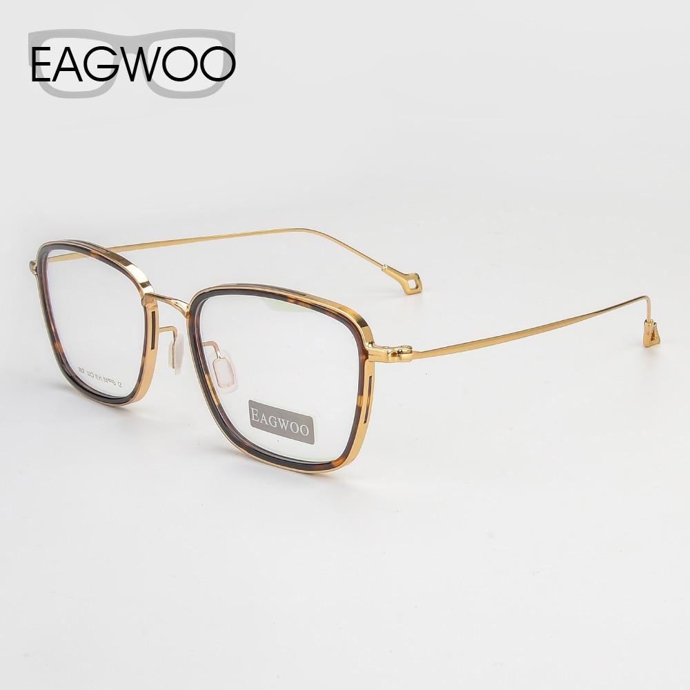 Eagwoo Pure Titanium Eyeglasses Full Rim Optical Nerd Vintage Frame Prescription Spectacle Men Rectangular Glasses New