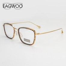 28fad17346 Eagwoo titanio puro anteojos ópticos borde completo nerd vintage marco  prescripción espectáculo hombres rectangular gafas nuevo .