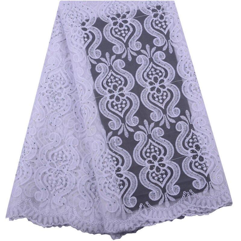 Français Net dentelle tissu 2019 haute qualité africain Tulle dentelle tissu avec pierres nigérian dentelle tissu pour mariage A1498-in Dentelle from Maison & Animalerie    1