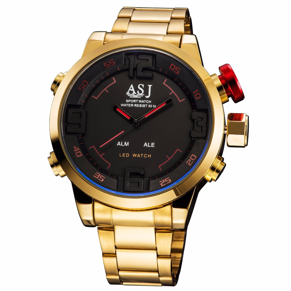 Top Brand  Men Gold Watch  Waterproof Men Full Steel Gold Mens Sport Quartz-Watch Military Army Male Watches Relogio Masculino new fashion mens watches gold full steel male wristwatches sport waterproof quartz watch men military hour man relogio masculino