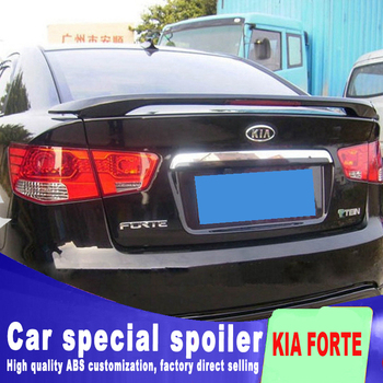 big ABS material high quality rear trunk wing rear spoiler for 2009 to 2015 KIA forte by primer red stop lamp light spoilers