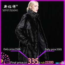 XINYUXIANG 70cm 90cm Black Real Mink fur Jackets Women Winter Thicken Warm Female Detachable Natural Genuine mink fur coats