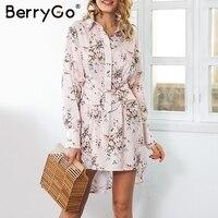 BerryGo Floral print mini shirt dress phụ nữ Đi Đường sash t áo sơ mi giản dị 2018 Mùa Xuân boho ngắn váy nữ vestidos
