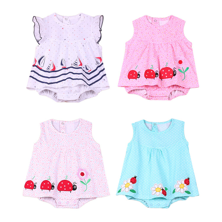 Girls Dresses Summer Baby Princess Dresses Girl Sleeveless Body Suit 2020 Children Pink Clothes 0-1y  Baby Girl Flower Romper