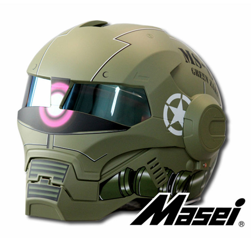 MASEI Matte Dumm Grün Zach NEUE stil 610 motorrad helm IRONMAN Iron Man jethelm casque motocross