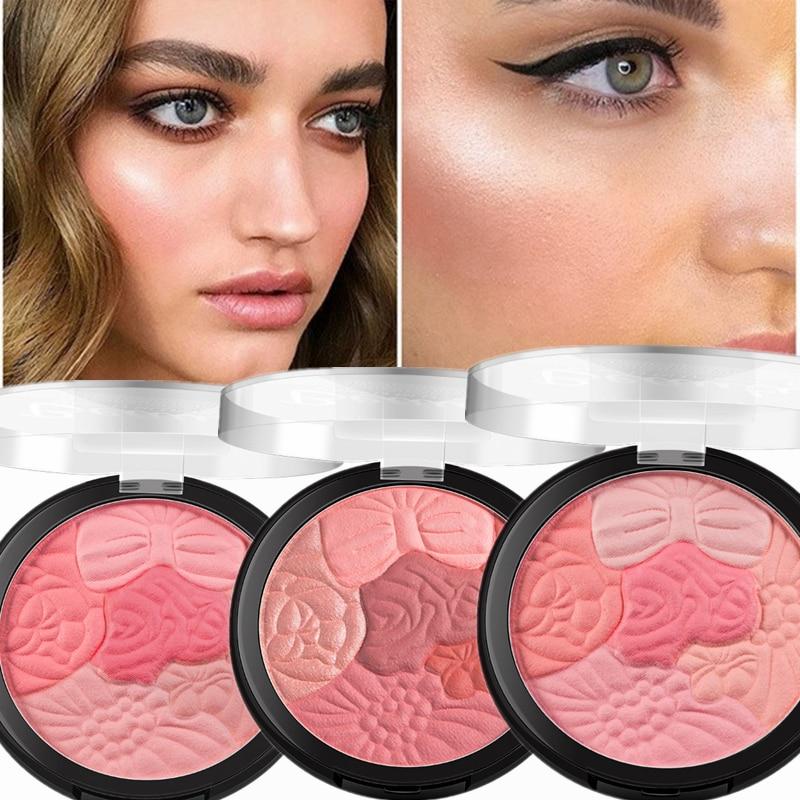 Face Blush Makeup Palette Petal Matte Blusher Highlighter Powder Contour Cheek Rouge Easy To Wear Make Up Natural Minerals