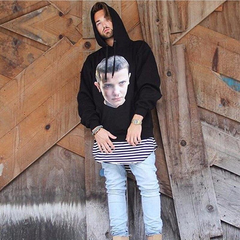 Stranger Things Men Hoodies Hip Hop Cotton Fleece Hoodies Male Boy Face Printed Sweatshirt Costume Tracksuits Hoody J10