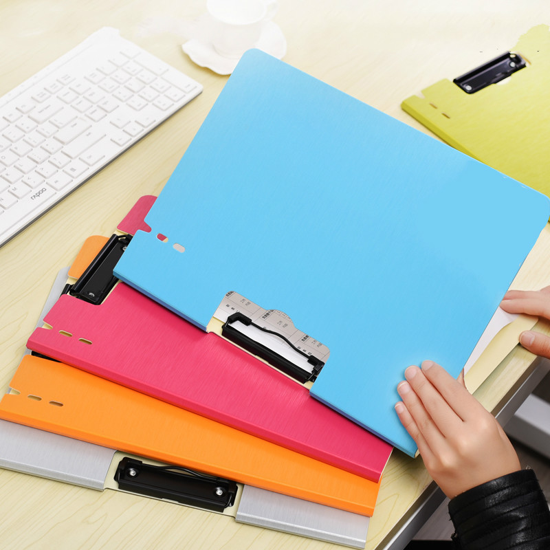 2pcs/lot Document Folder A4 Clip Board Plate Clip File Writing Pad Paper Clip Report Cover Suspension Folder Office Supplies