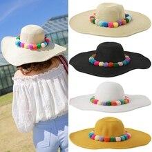 KLV Fashion Chic Womens Fluffy Pom Pom Ball Decorated Straw Sun Hat Beach Summer Wide Brim Cap White/Khaki/Black/Beige