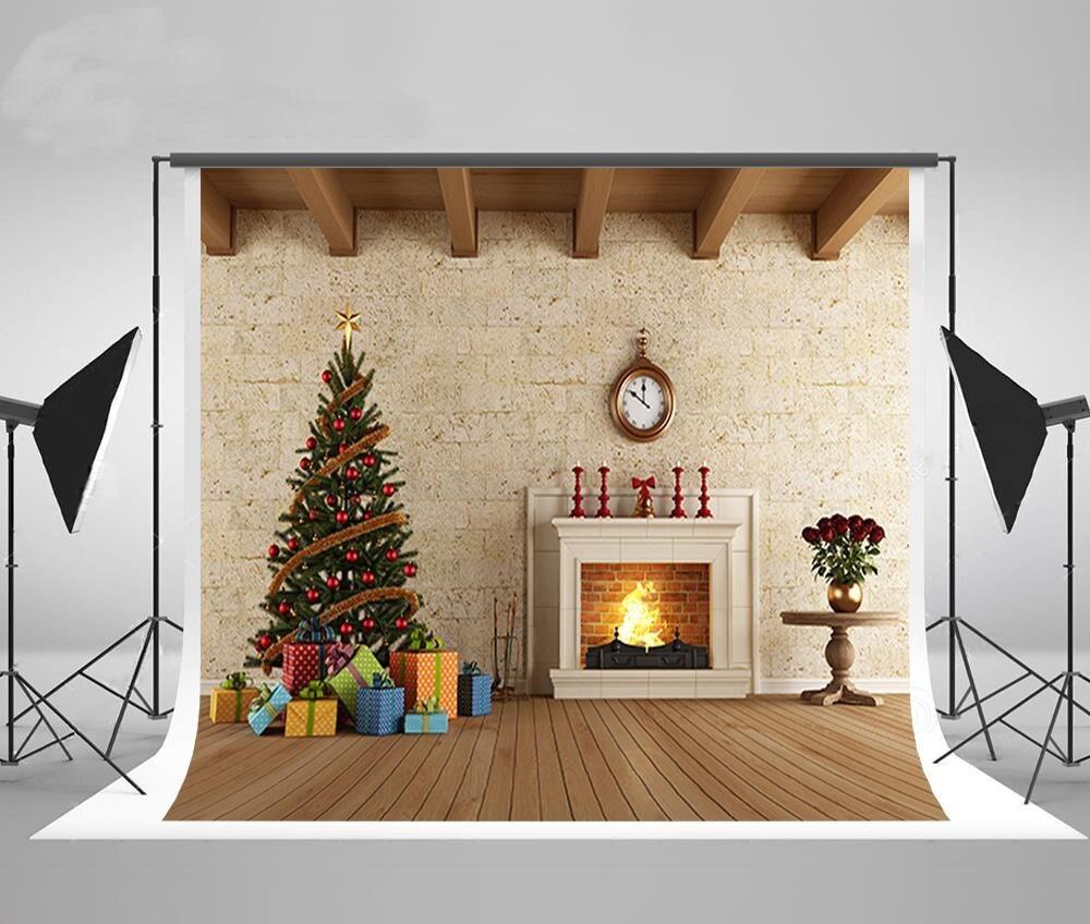 Us 1453 5 Offjam Dekorasi Perapian Dinding Pohon Natal Kain Fotografi Latar Belakang Vinyl Komputer Dicetak Natal Foto Latar Belakang In